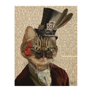 Phileas Feline Steampunk Cat & Top Hat Wood Wall Art