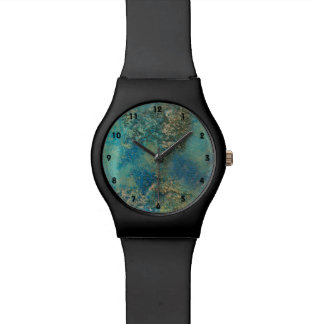 Philip Bowman Ocean Blue And Gold Abstract Art Wrist Watches