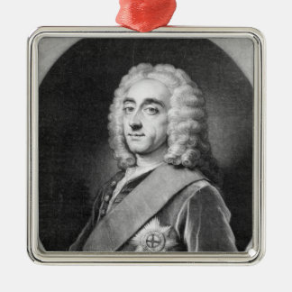 Philip Dormer Stanhope, engraved by John Simon Silver-Colored Square Decoration