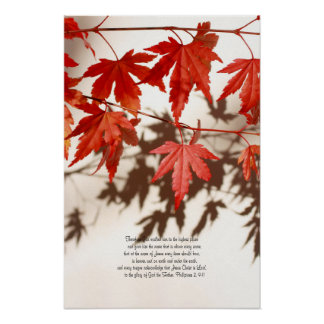 Philipians 2, 9-11,  red maple, wall poster
