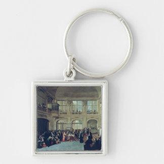 Philippe de Courcillon Marquis of Dangeau Silver-Colored Square Key Ring