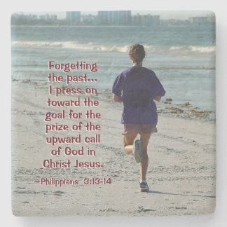 Philippians 3:13 Forgetting the Past, Bible Stone Coaster