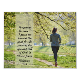 Philippians 3:14 Bible Verse, Girl Running Poster