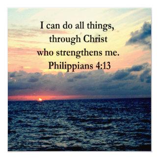 PHILIPPIANS 4:13 13 CM X 13 CM SQUARE INVITATION CARD