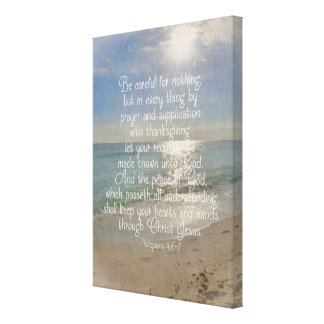 Philippians 4:13 Bible Verse Beach Christian Art Canvas Print
