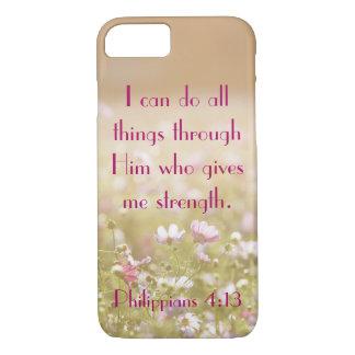Philippians 4:13 Bible Verse Flower Field Photo iPhone 7 Case