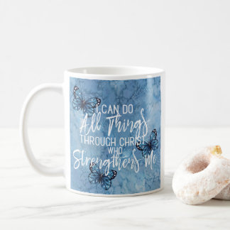 Philippians 4:13 Blue Floral Design Coffee Mug