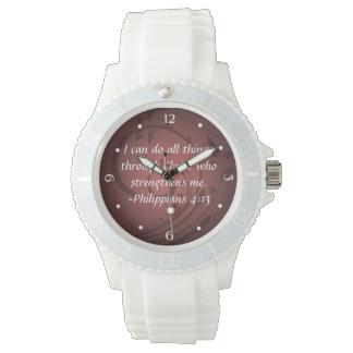 Philippians 4:13 Christian Bible Verse Wristwatch