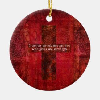 Philippians 4:13 inspirational Scripture Christmas Ornament
