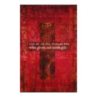 Philippians 4:13 inspirational Scripture Stationery Design