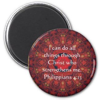 Philippians 4:13 inspiring Bible verse 6 Cm Round Magnet