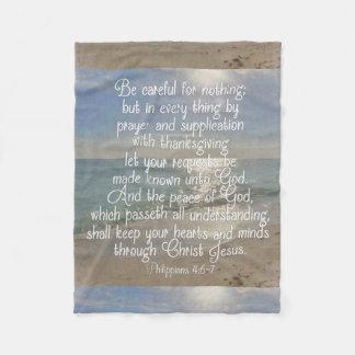Philippians 4:13 Peace Bible Verse Beach Christian Fleece Blanket