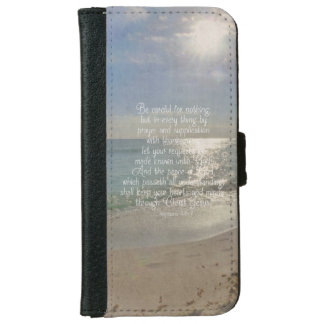 Philippians 4:13 Peace Bible Verse Beach Christian iPhone 6 Wallet Case