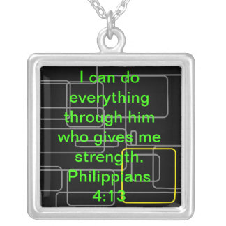 Philippians 4:13 square pendant necklace