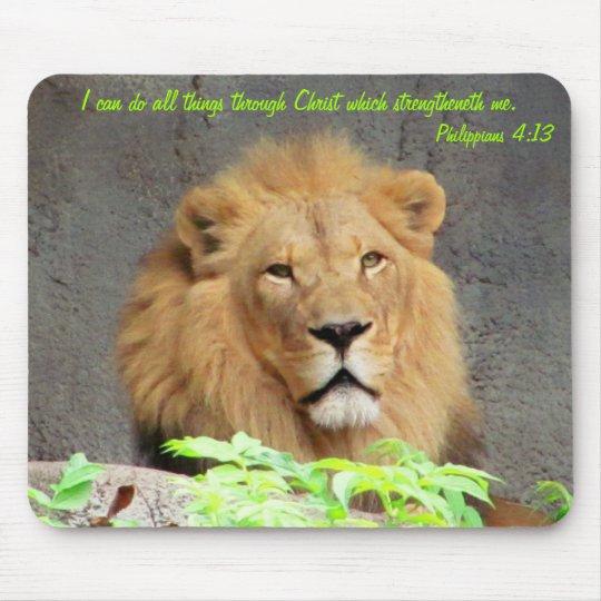 Philippians 4:13 with Male Lion Mouse Mat