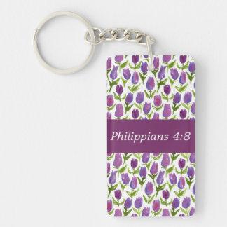 Philippians 4:8 Double-Sided rectangular acrylic key ring