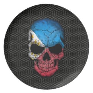 Philippine Flag Skull on Steel Mesh Graphic Plate