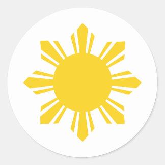 Philippine Sun, Pinoy Sun, Filipino Sun Round Sticker