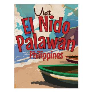 Philippines,El Nido, Palawan Travel poster. Postcard