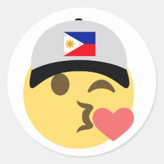 Philippines Emoji Baseball Hat Round Sticker