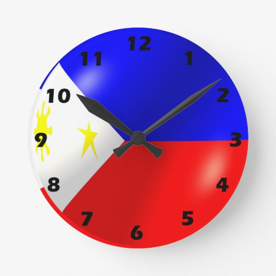 Philippines Flag Design Round Clock