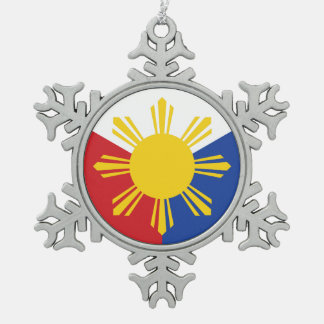 Philippines Flag Elements Snowflake Pewter Christmas Ornament