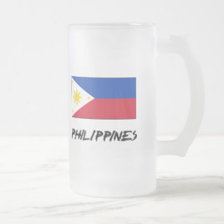 Philippines Flag Frosted Glass Beer Mug