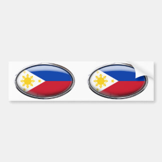 Philippines Flag Glass Oval Bumper Sticker