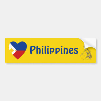 Philippines Flag Heart + Map Bumper Sticker