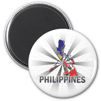 Philippines Flag Map 2.0 6 Cm Round Magnet