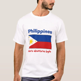 Philippines Flag + Map + Text T-Shirt