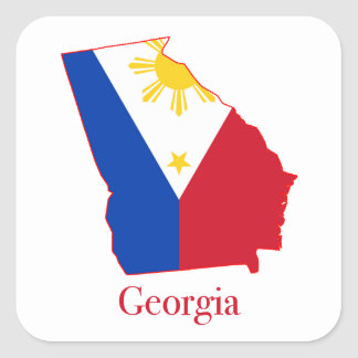 Philippines flag over Georgia state map Square Sticker