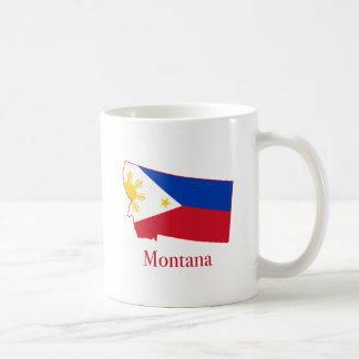 Philippines flag over Montana state map Basic White Mug