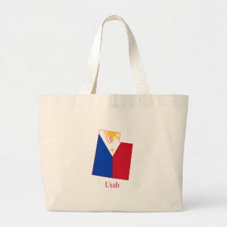 Philippines flag over Utah state map Jumbo Tote Bag
