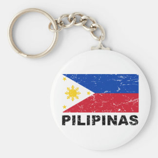 Philippines Flag Vintage Basic Round Button Key Ring