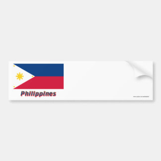 Philippines Flag with Name Bumper Sticker