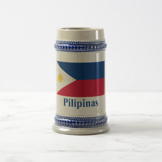 Philippines Flag with Name in Filipino Beer Stein