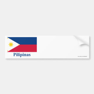 Philippines Flag with Name in Filipino Car Bumper Sticker
