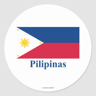 Philippines Flag with Name in Filipino Stickers