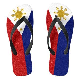 Philippines Glitter Flag, Wide Straps Flip Flops