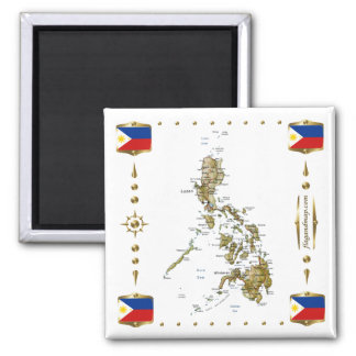 Philippines Map + Flags Magnet