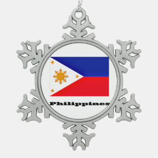 Philippines Snowflake Pewter Christmas Ornament