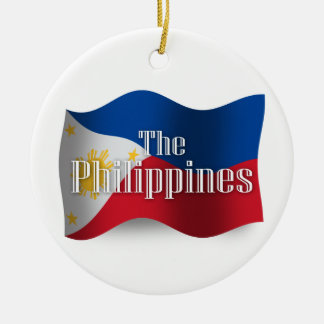 Philippines Waving Flag Round Ceramic Decoration