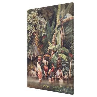 Philippino Women Washing Beneath a Banana Tree, 18 Canvas Print