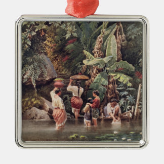 Philippino Women Washing Beneath a Banana Tree, 18 Christmas Ornament