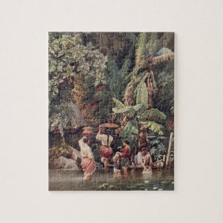 Philippino Women Washing Beneath a Banana Tree, 18 Jigsaw Puzzle