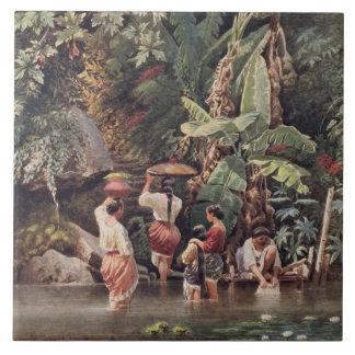 Philippino Women Washing Beneath a Banana Tree, 18 Large Square Tile