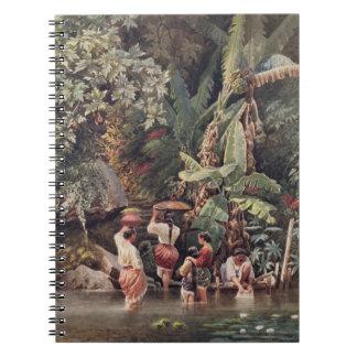 Philippino Women Washing Beneath a Banana Tree, 18 Spiral Note Books