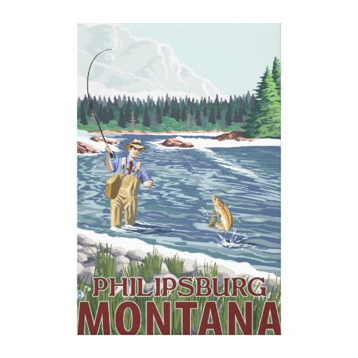 Philipsburg, MontanaFly Fisherman Gallery Wrapped Canvas