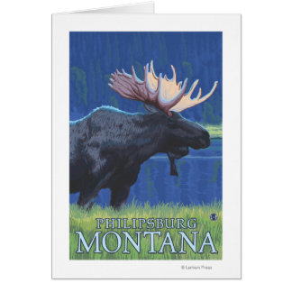 Philipsburg, MontanaMoonlight Moose Card